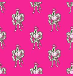 Fairytale knight seamless pattern vector