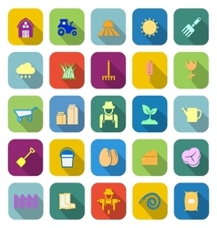 Farming color icons with long shadow vector image