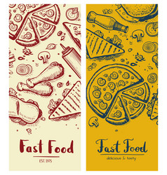 Fast food vintage vertical flyers vector