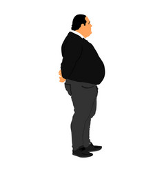 Fat man is worry about health overweight person vector
