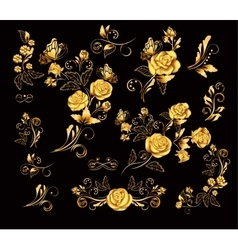 Flowers with gold roses vector
