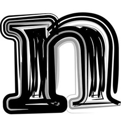 Freehand Typography Letter n vector image