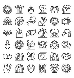 Friendship icons set outline style vector