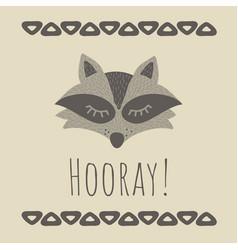 funny raccoon retro style vector image