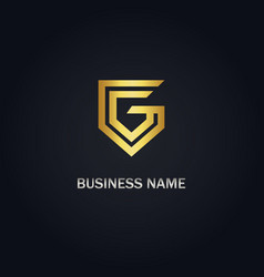 g initial shape gold logo vector image