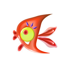 glossy red little fish cartoon funny life vector image