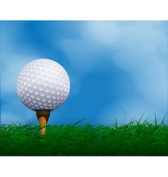 Golf ball in front of sky background vector