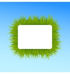 Green grass square frame on blue sky background vector