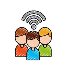 Group people team work internet wifi connection vector