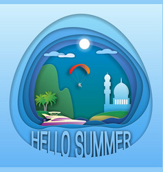 hello summer logo template yacht at sea palm vector image
