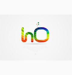 ho h o rainbow colored alphabet letter logo vector image