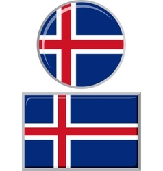 Icelandic round and square icon flag vector