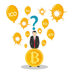 Ico or initial coin offering concept vector