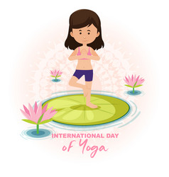 International day yoga banner with woman doing vector