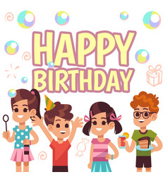 kids birthday poster children on celebration vector image