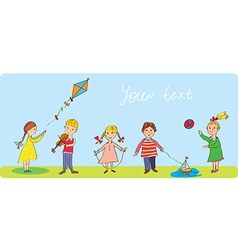 Kids playing - funny banner vector image vector image