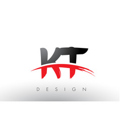 Kt k t brush logo letters with red and black vector