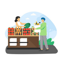 Local food market man ecologist buying organic vector