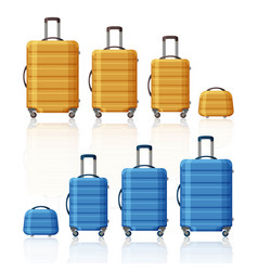 luggage collection three sizes of suitcases and vector image