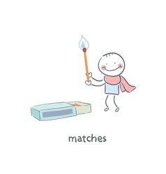 Man and matches box vector image