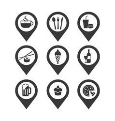 mapping pins icon food and drink vector image