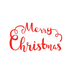 merry christmas hand lettering isolated on white vector image