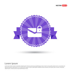 Message secure icon - purple ribbon banner vector