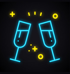 neon drink in two glasses bright toast sign vector image