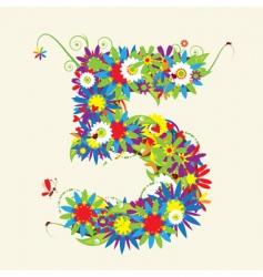 Number 5 floral design vector