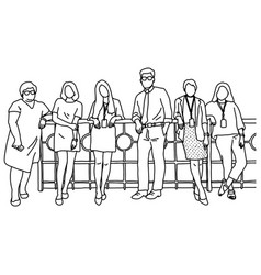 one businessman and five businesswomen standing vector image