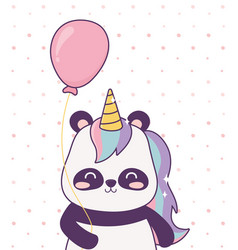 panda with unicorn and balloon cartoon magical vector image
