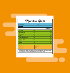 paper with nutrition facts vector image