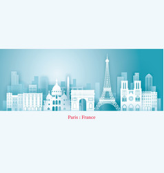 Paris france landmarks skyline paper cutting vector