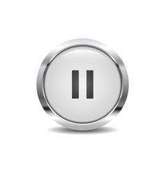 pause icon image round 3d button with metal frame vector image
