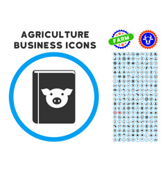 Pig book rounded icon with set vector