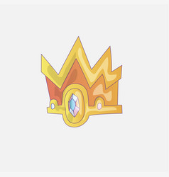 princess crown icon with gems and diamonds gold vector image