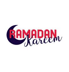 Ramadan kareem lettering in half moon vector
