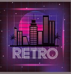 retro city with graphic neon style vector image