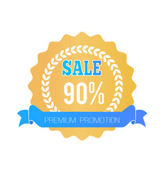 Sale premium promotion label special offer 90 vector