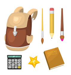 school supplies stationery educational backpack vector image