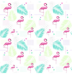 Seamless pattern flamingo tropical summer ornament vector