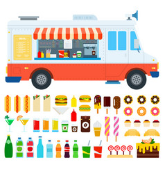 set food truck and coffee icons flat vector image
