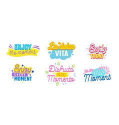 set icons enjoy moment with typography and vector image