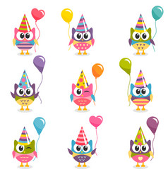 set of colorful cartoon owls with balloons vector image