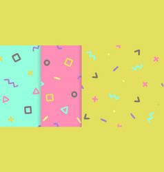 set three backgrounds with symbols vector image