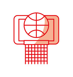 Shadow basket ball in the hoop cartoon vector