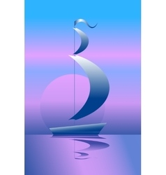 Ship on the sea in the moonlight vector image