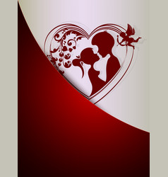 silhouette of a heart with a loving couple with a vector image