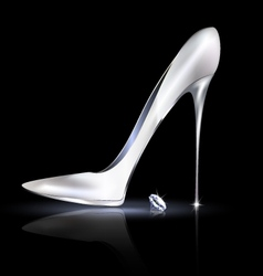 silver shoe and crystal vector image