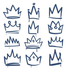 sketch crown queen king crowns tiara luxury royal vector image